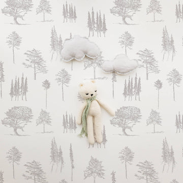 Draw forest vintage temporary wallpaper