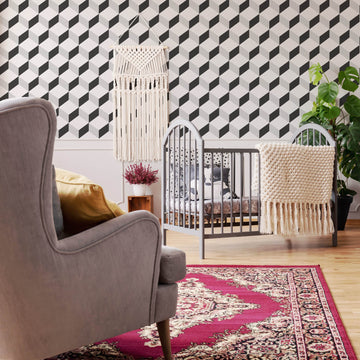 Geometric Cube Tile pattern removable wallpaper