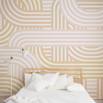 Beige Geometric removable wall mural