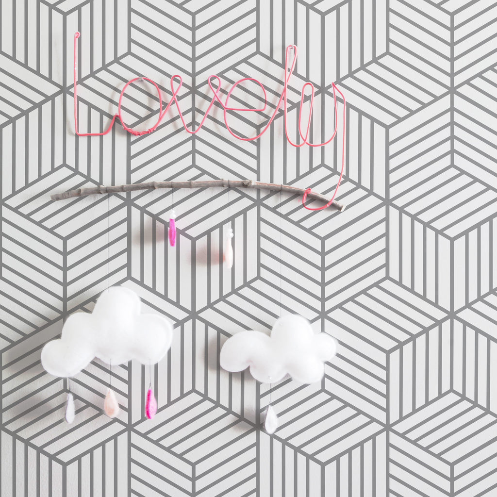 Cube Pattern Removable Wallpaper For Kids Room Next