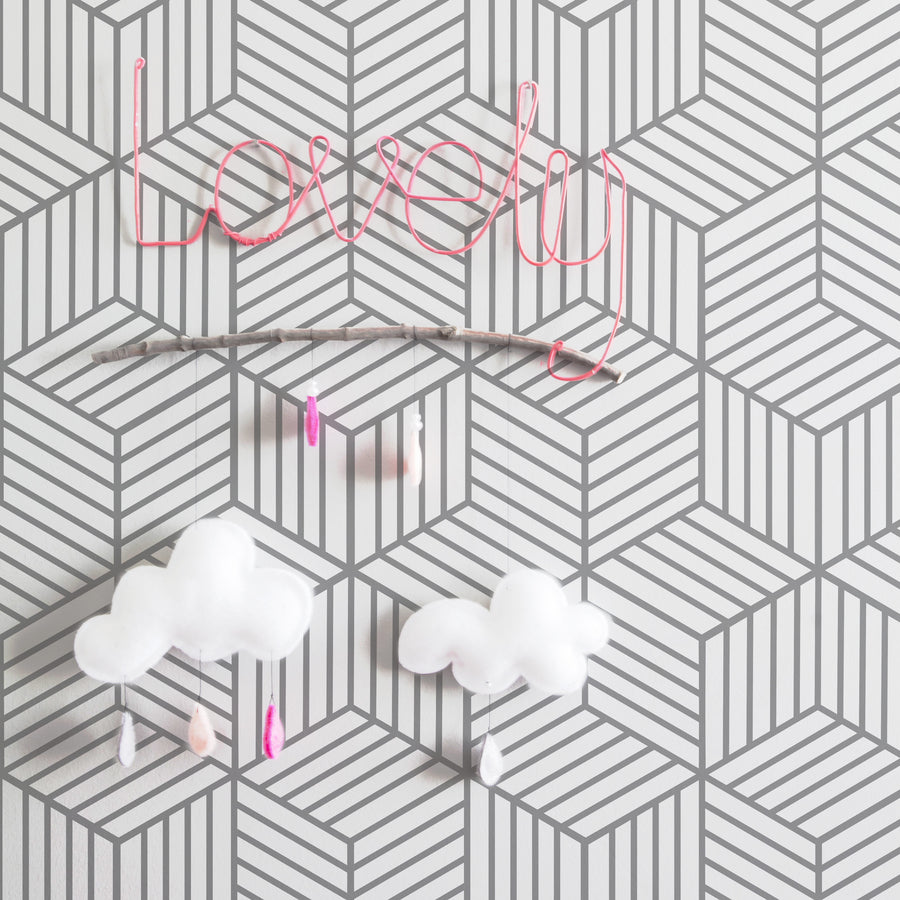 Cube pattern removable wallpaper for kids room