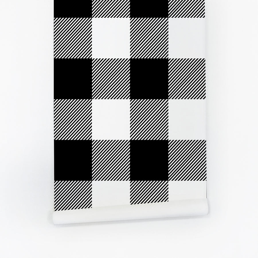 Black and white plaid temporary wallpaper