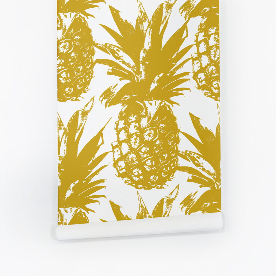 Modern boho pineapple peel and stick temporary wallpaper