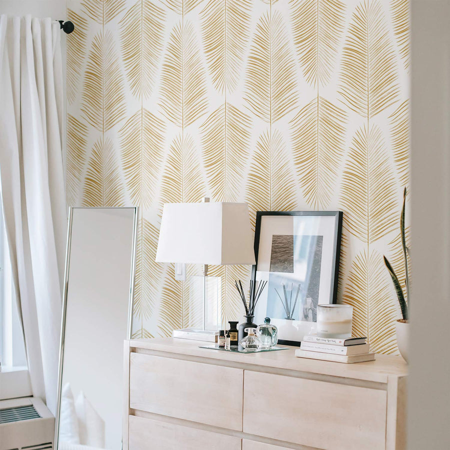 Golden Color Leaves Design removable wallpaper