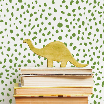 Green dalmatian pattern kids room wallpaper