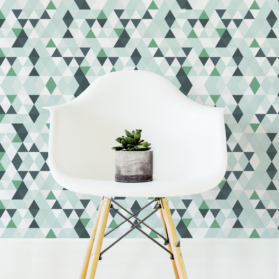 Teal kaleidoscope removable wallpaper