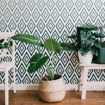 Green ombre aztec design removable wallpaper