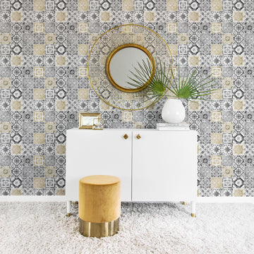 Golden and grey tile removable wallpaper
