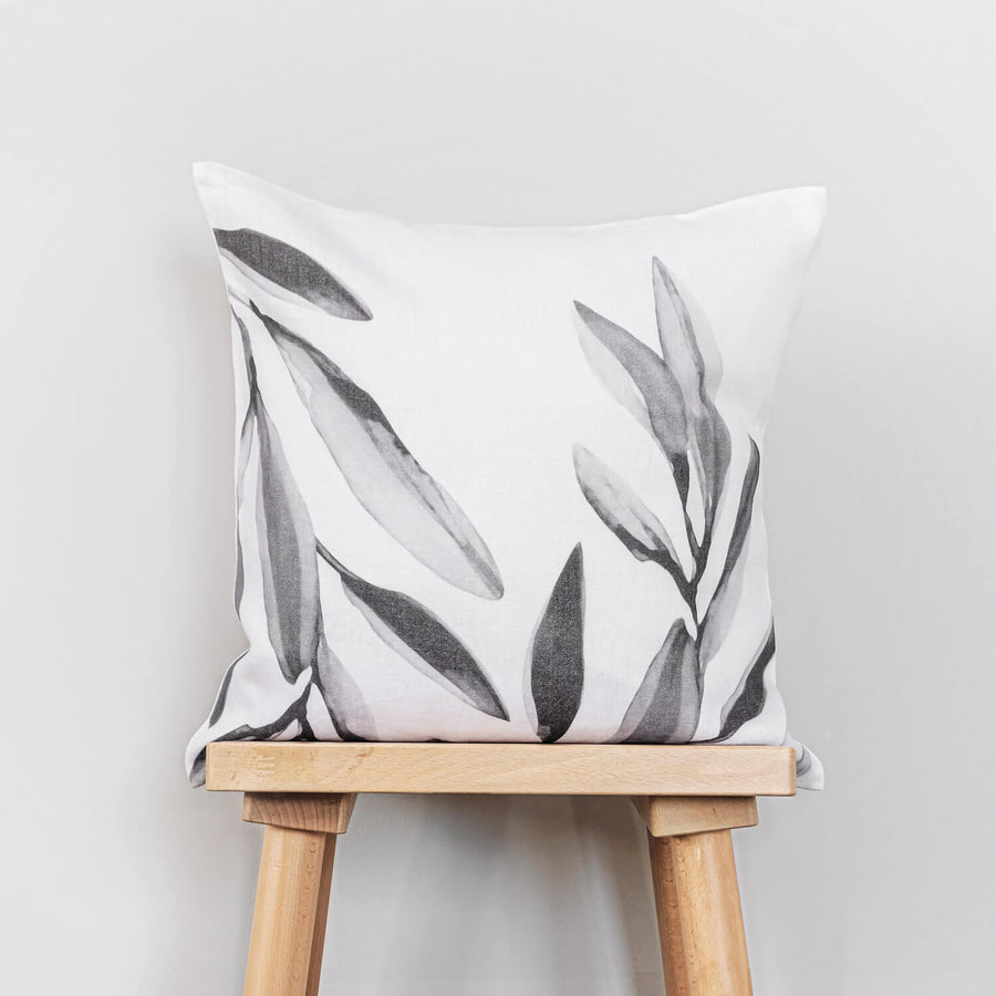 Eucalyptus print washed linen pillow cover