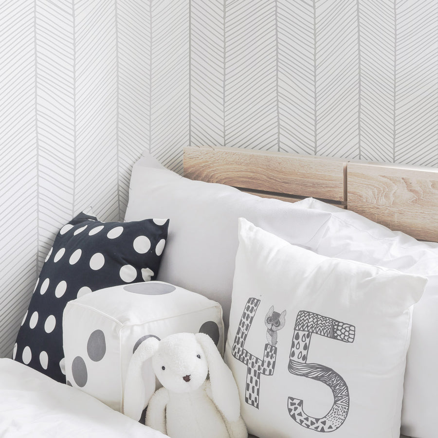 Grey herringbone pattern removable wallpaper