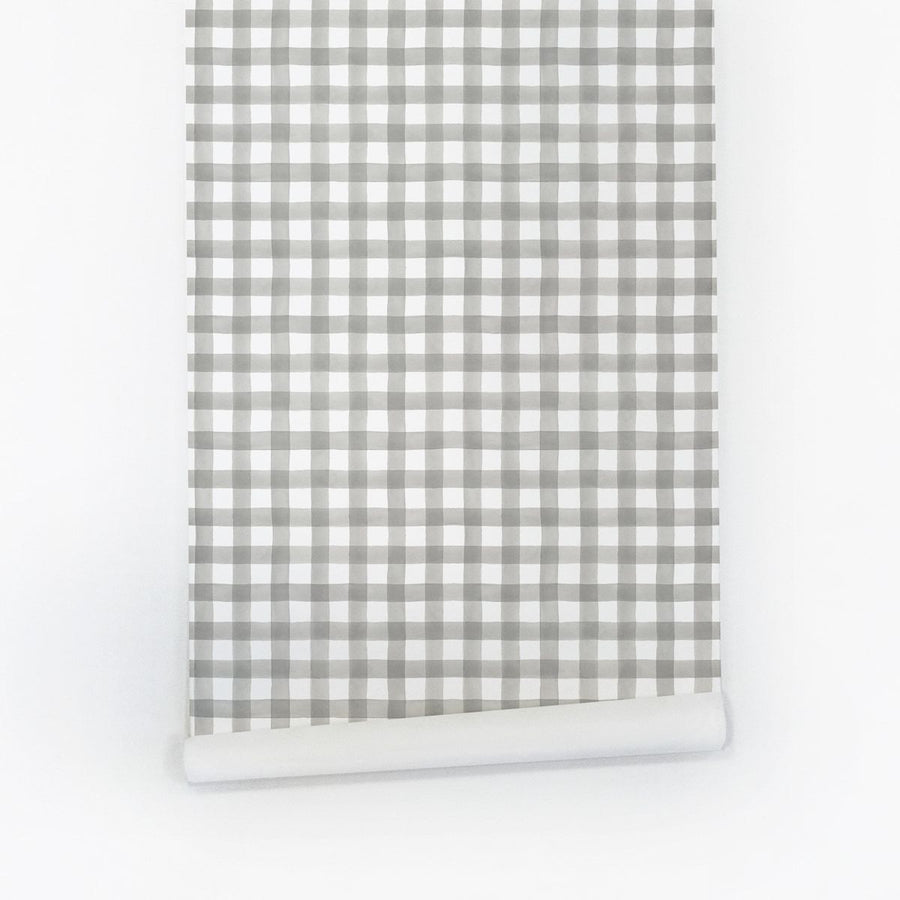 Grey plaid removable wallpaper for nursery interior