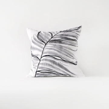 Grey tropical pillow cover