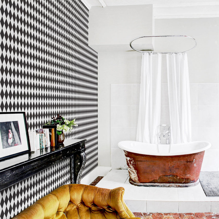 Black and white self adhesive harlequin wallpaper