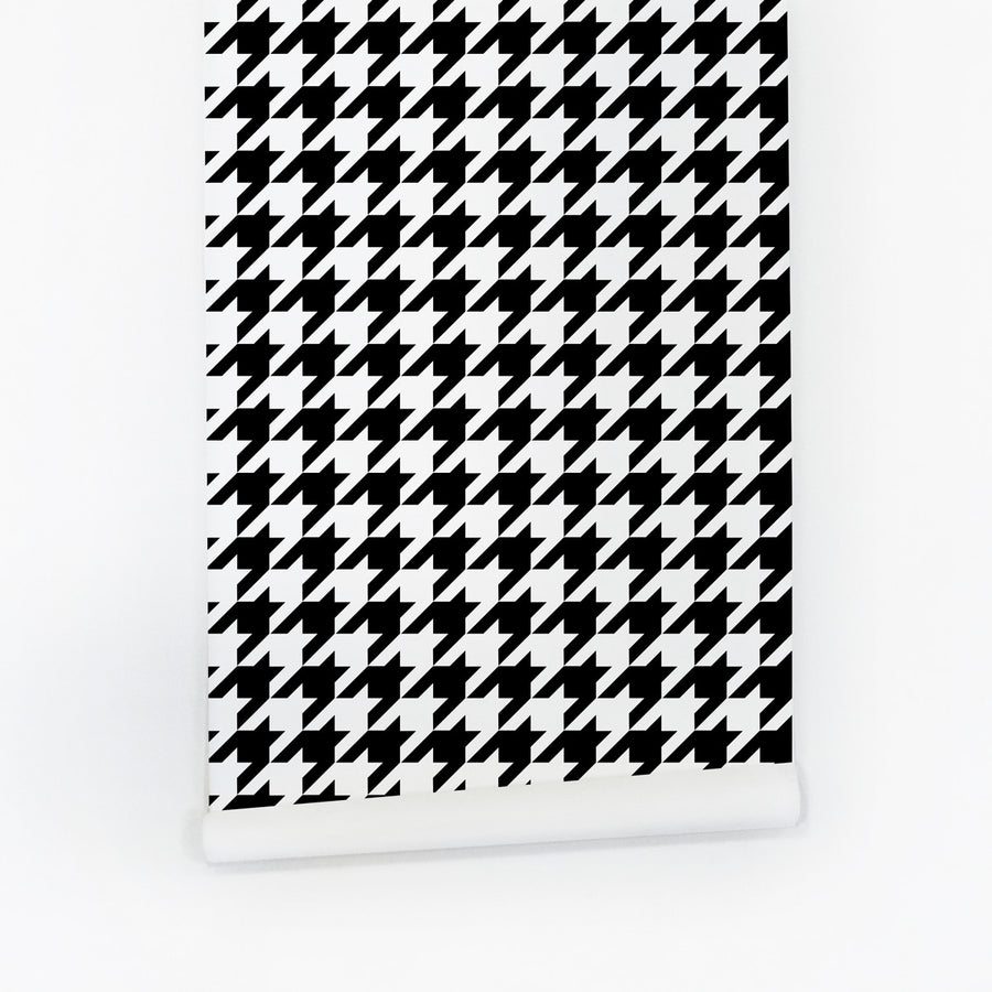 Classic black and white houndstooth accent wall for renters