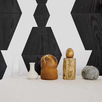 Wood block design removable wallpaper in black color