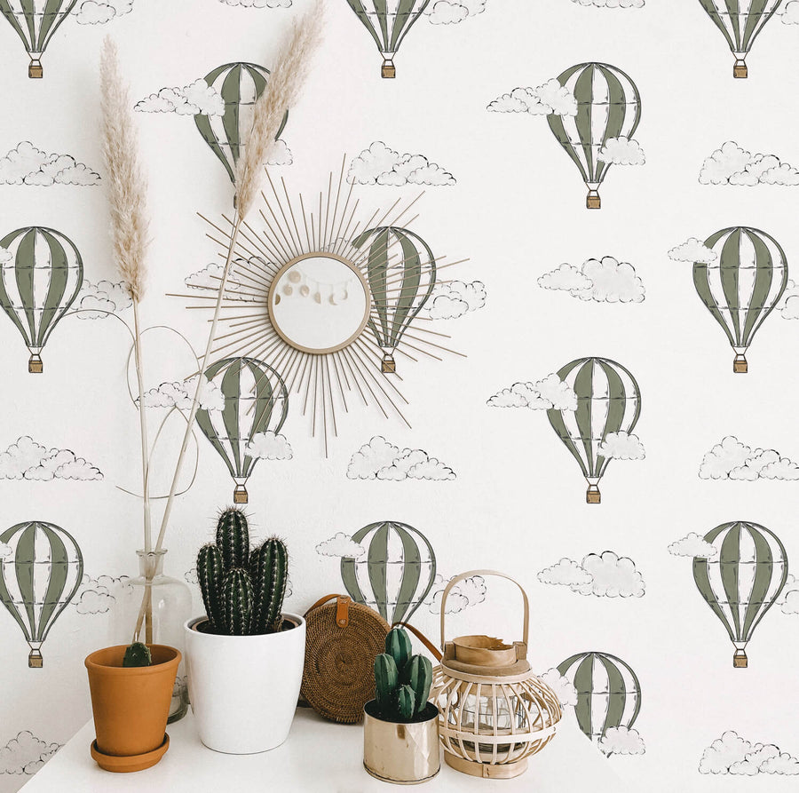 Air balloon removable wallpaper for gender neutral nursery interior