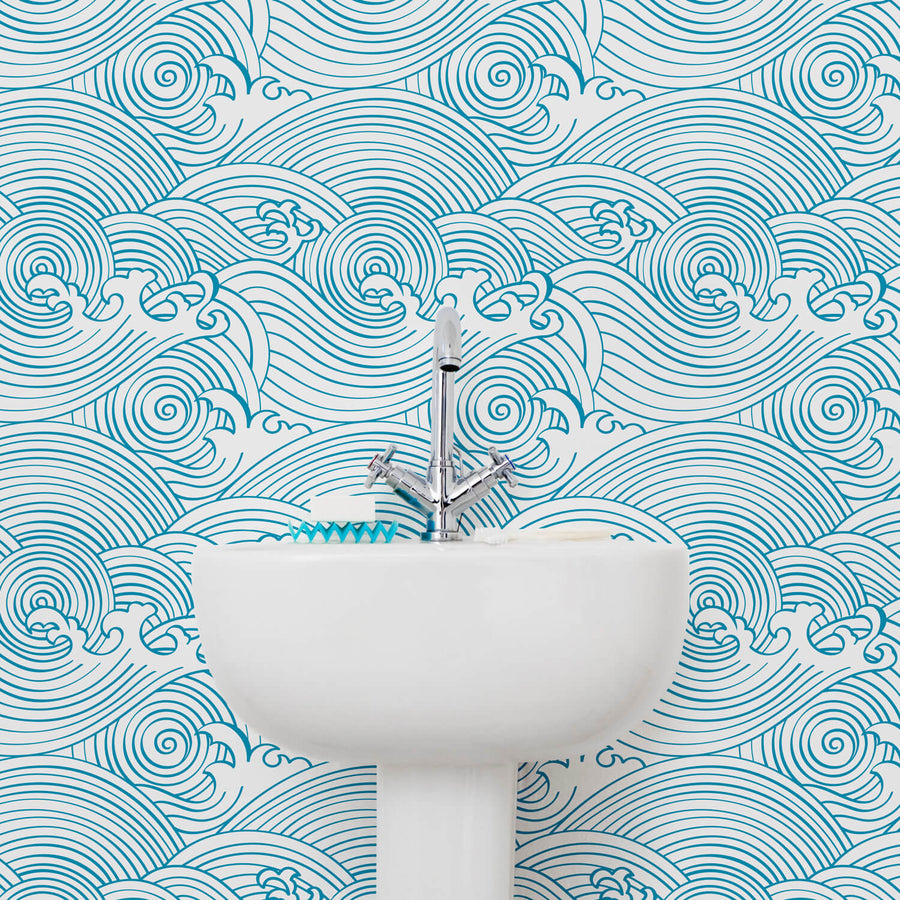 . Waves pattern nursery removable wallpaper