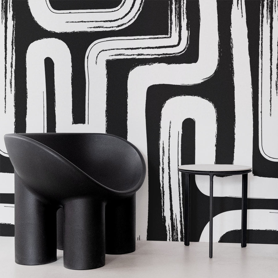 Oversized black and white paintbrush design removable wallpaper