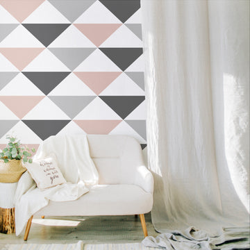 Pale pink triangle removable wallpaper