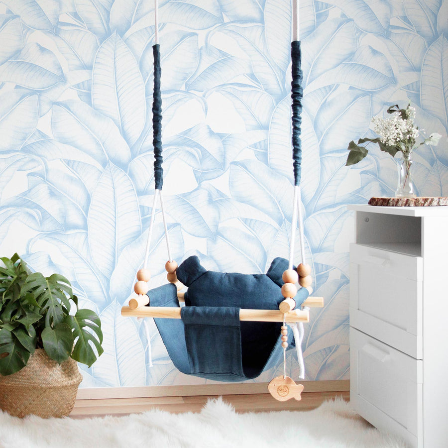 Pearl Blue Banana leaf removable wallpaper for nurseries
