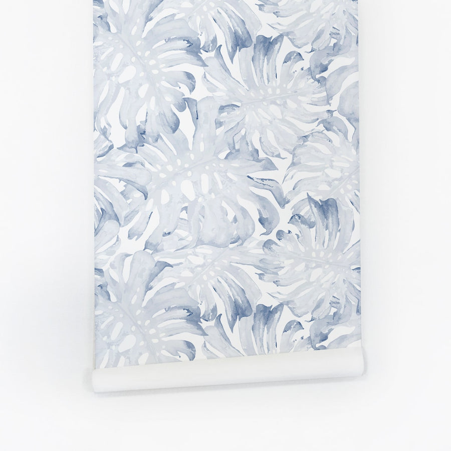 Blue botanical leaves temporary wallpaper for rentals