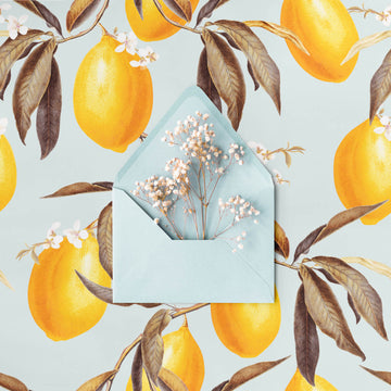 Baby blue color removable wallpaper with lemons for baby nursery interiors