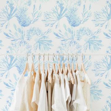 Blue watercolor coral removable wallpaper