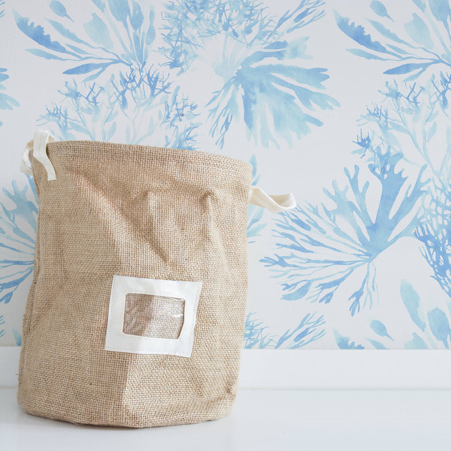 Light Blue watercolor coral removable wallpaper