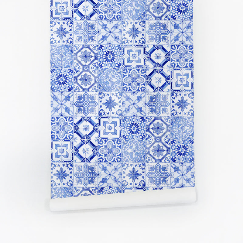 Blue moroccan wallpaper with mixed tiles