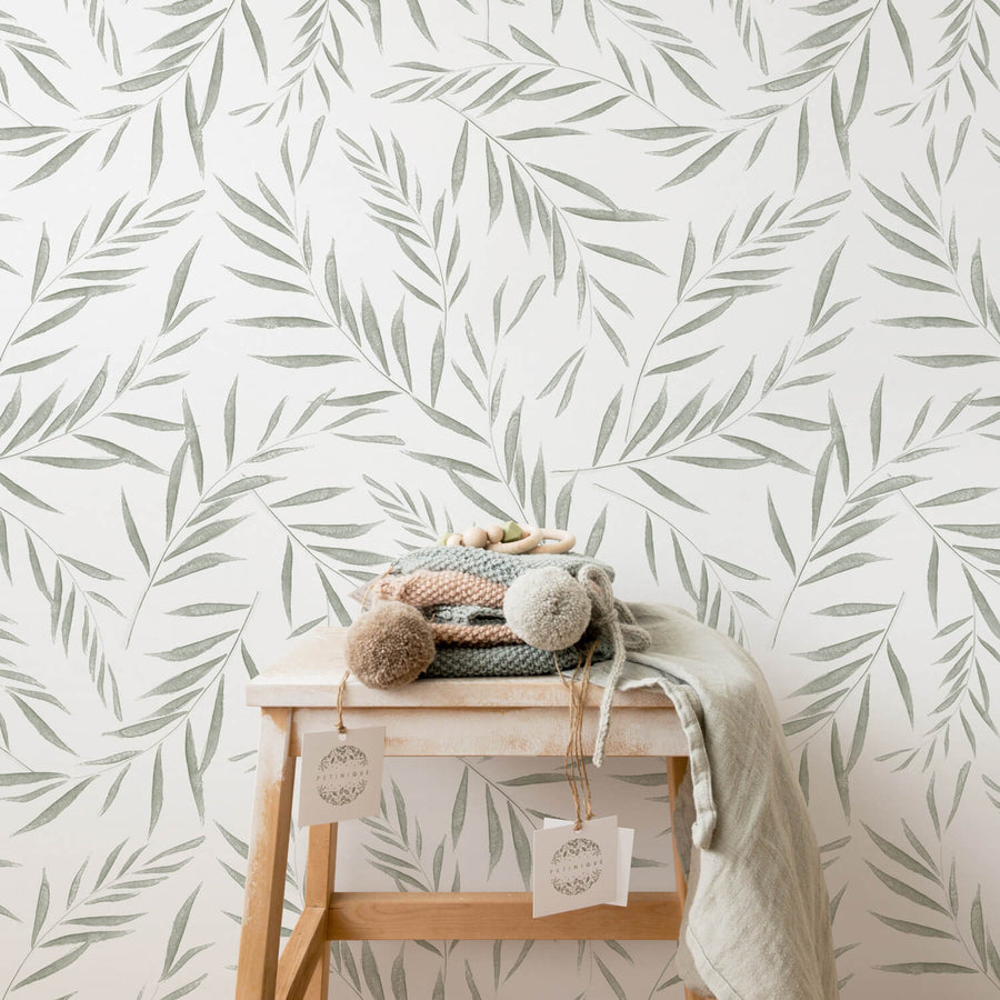 Baby room botanical removable wallpaper