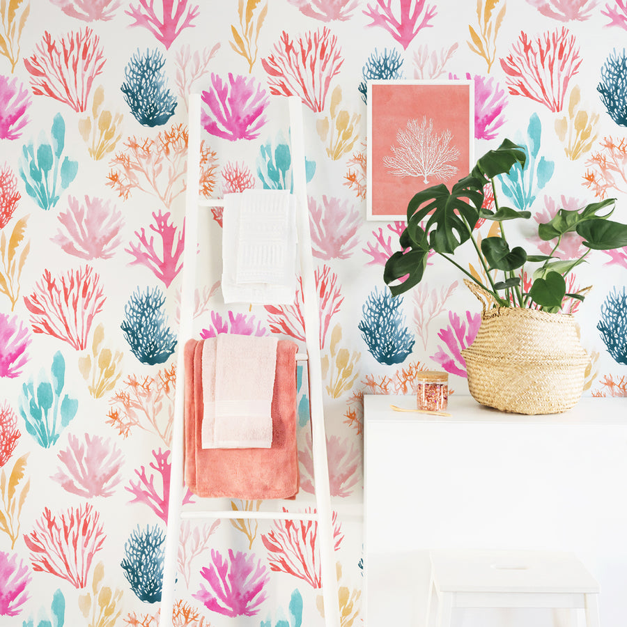 Coral removable wallpaper in bright bohemian bathroom interior