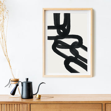 Mid century modern brush chain design art print
