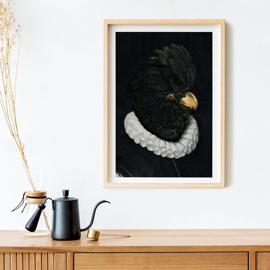 Black and white bird art print poster