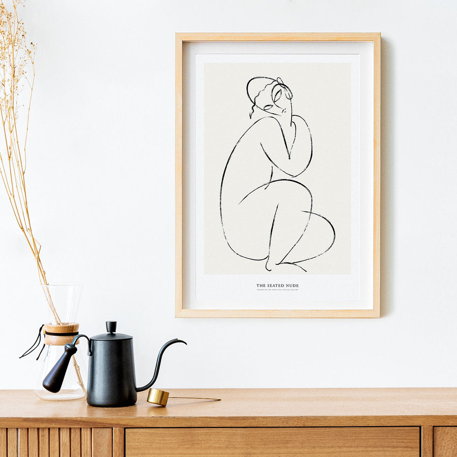 Seated nude abstract wall art print poster