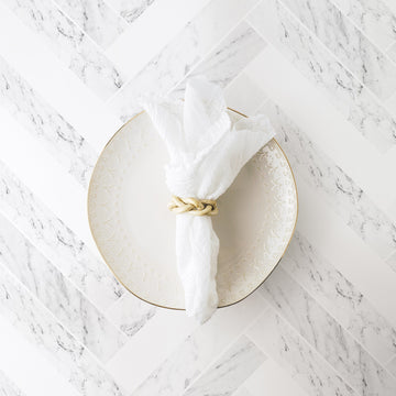 White marble tile removable wallpaper