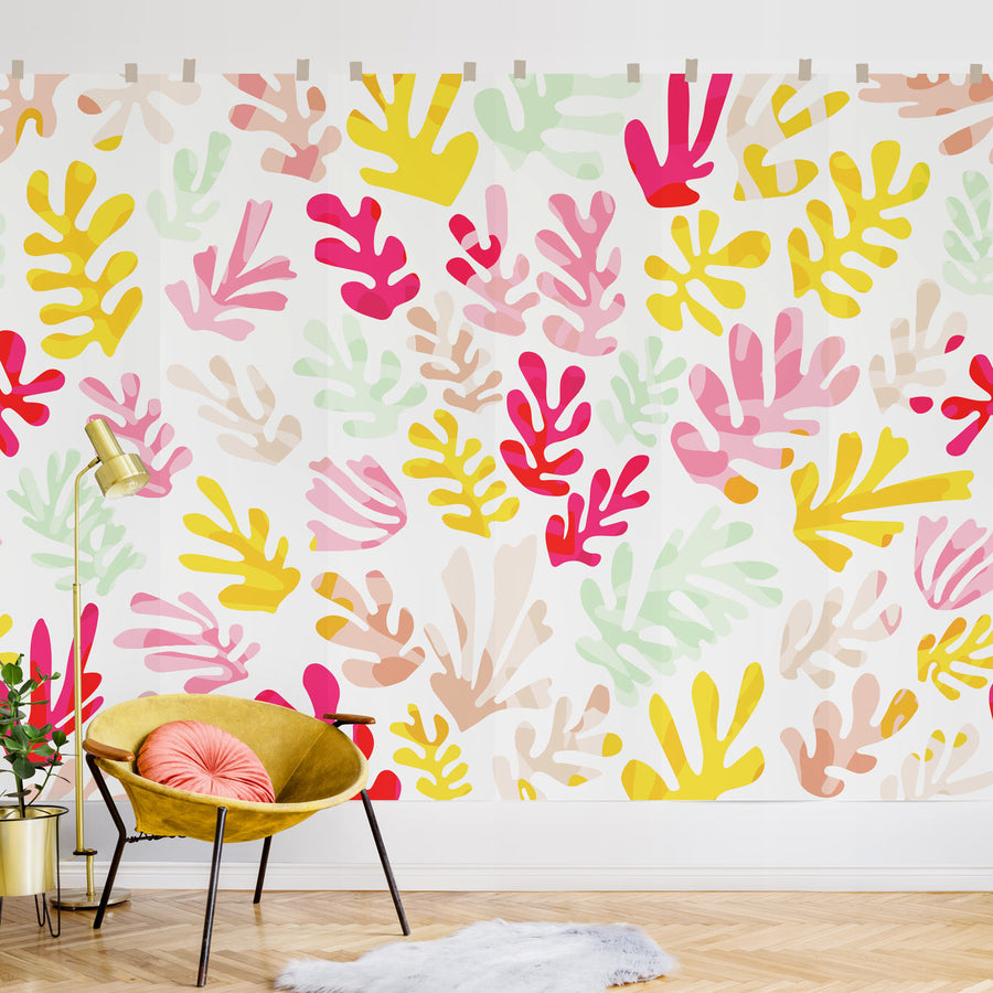 Eclectic Coral pattern wall mural