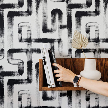 Abstract brush stroke design removable wallpaper in moody interior