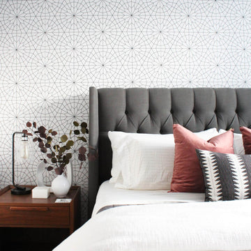 Mid century modern bedroom interior with delicate geometric design removable wallpaper feature wall