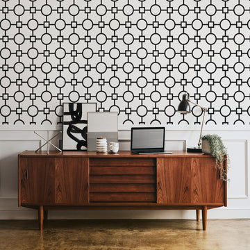 Mid century modern office interior with retro design removable wallpaper