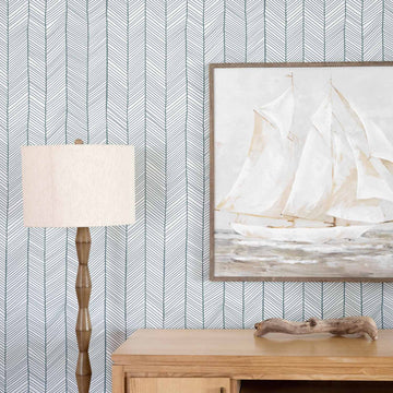 Simple herringbone removable wallpaper in windy color