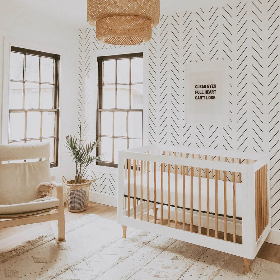 Scandi boho herringbone nursery removable wallpaper