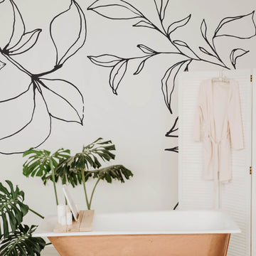 Minimal floral removable wallpaper
