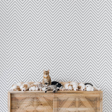 Nursery interior chevron removable wallpaper