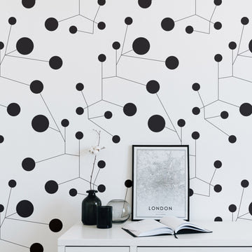 Abstract constellations design removable wallpaper in black and white interior