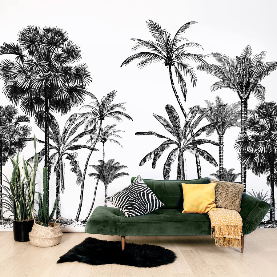 Modern jungle wall mural in  tropical boho living room interior