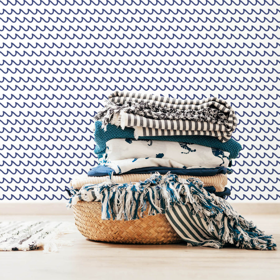 Doodle waves nautical theme removable wallpaper