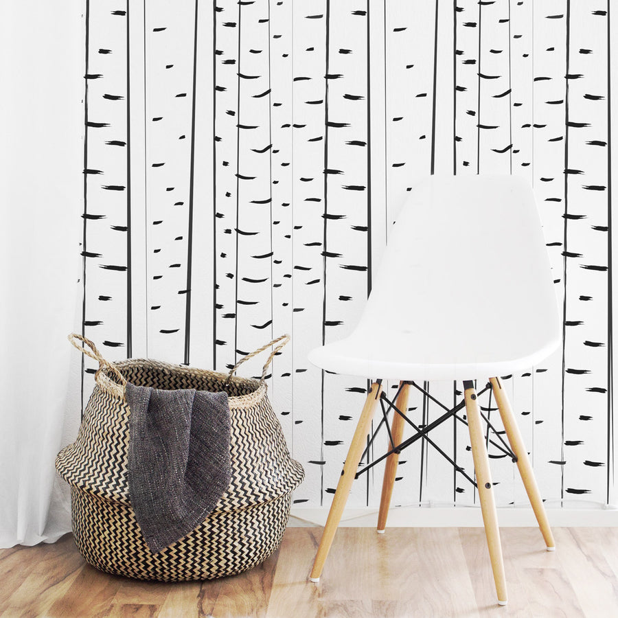 Modern birch tree removable wallpaper in scandinavian kid's room interior