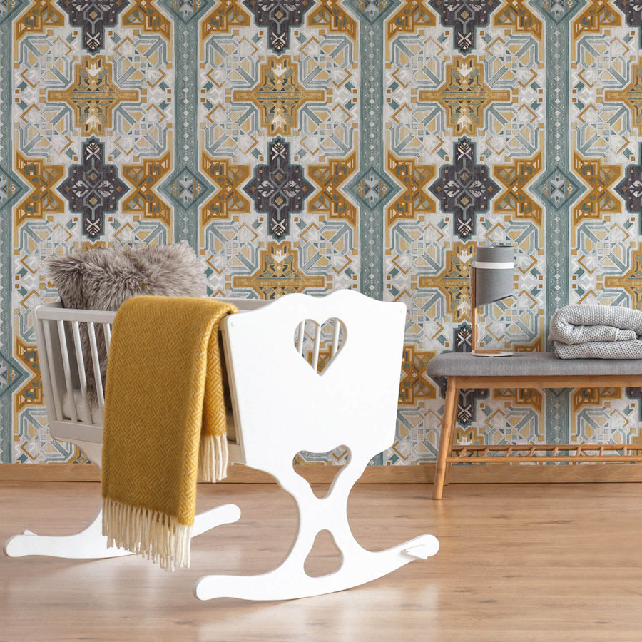 Bohemian pattern removable wallpaper for kids room