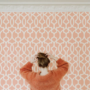 Blush pink moroccan design removable wallpaper in parisian style apartment interior