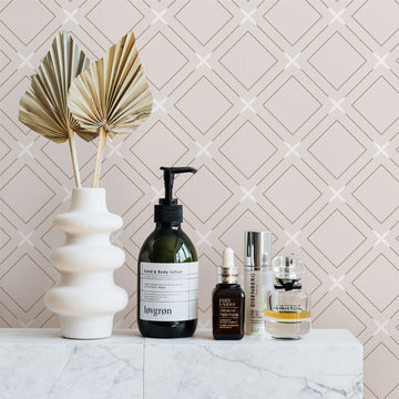 Neutral color geometric tile design removable wallpaper in powder room intrior